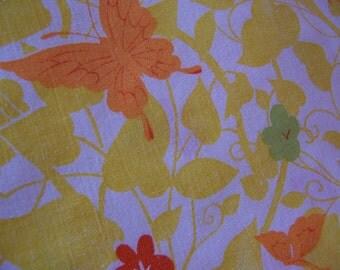 yellow with butterflies double flat sheet