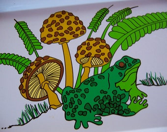 mushroom and frog tin tray