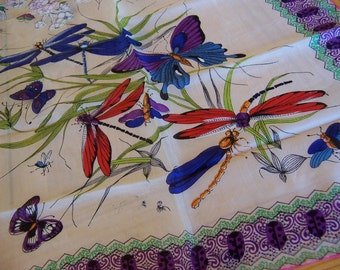 butterflies and dragonflies silk scarf