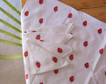 strawberry patch tablecloth and napkins