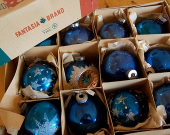 blue vintage glass tree ornaments