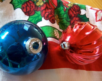 blue and red vintage glass ornaments