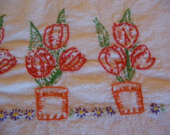 red tulip garden towel