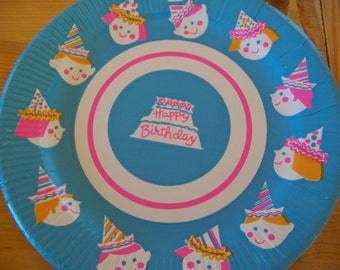 party hat happy birthday paper plates