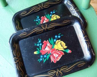 three classic black tin tole trays
