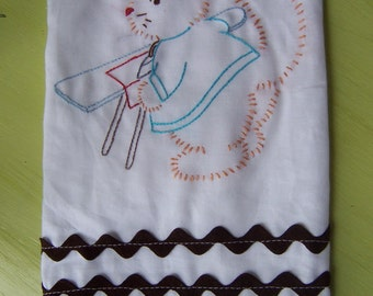 kitty iron it tea towel