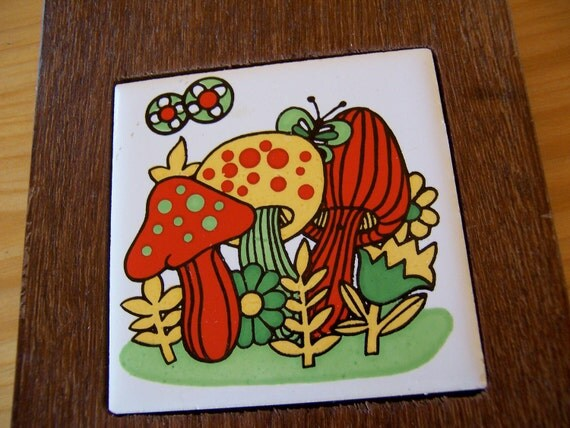 wooden plaque with adorable mushrooms