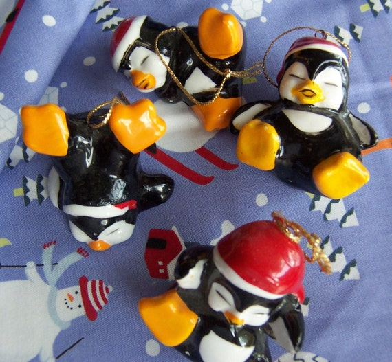 playful penguins ornaments