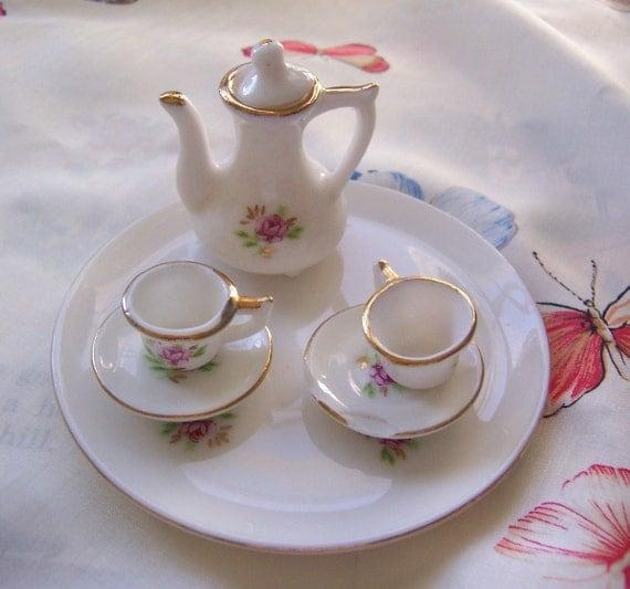 miniature porcelain tea set