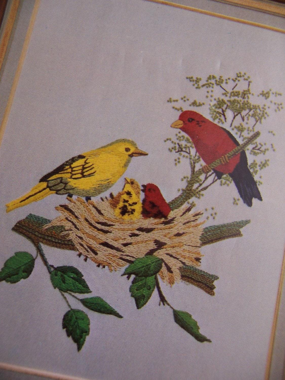 Vintage crewel embroidery kits makaroka