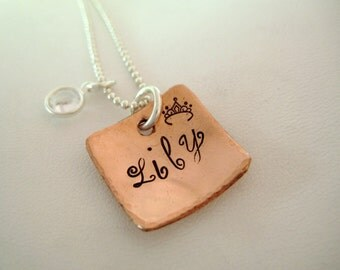 Personalized Necklace - Copper Cupped Square
