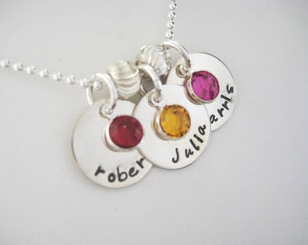 Personalized Hand Stamped 3 Disc Name Necklace