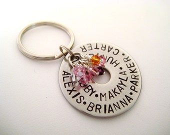 Hand Stamped Personalized Large Washer Keychain