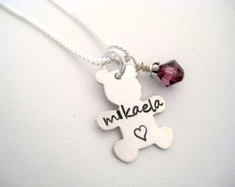 Personalized Sterling Silver Teddy Bear Necklace