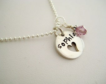 Personalized Charm, Personalized Pendant, Name Charm, Engraved Jewelry - Add a charm - Sterling silver heart cutout charm
