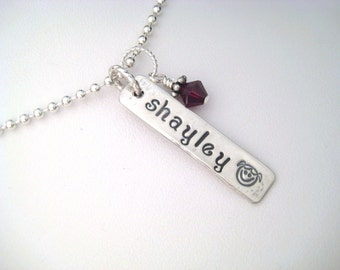 Sterling Silver Personalized Single Name Plate Necklace