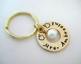 Personalized Brass Washer Keychain