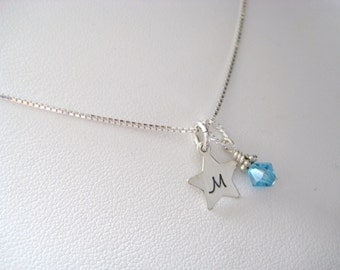 Personalized Sterling Silver Star Initial Necklace