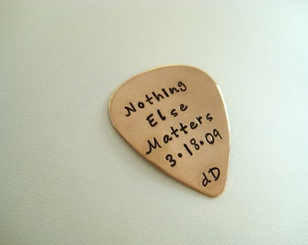 Personalized Copper Guitar Pick  - stamp both sides - Engraved guitar pick - Anniversary gift - Musician gift - Valentines Gift