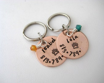 Pet ID Tag - Personalized Hand Stamped Small Copper Pet ID Tag