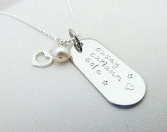 Hand Stamped Jewelry - Personalized Hand Stamped Oblong Pendant Necklace