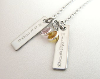 Hand Stamped Jewelry - Personalized Silver Double Name Plate Necklace