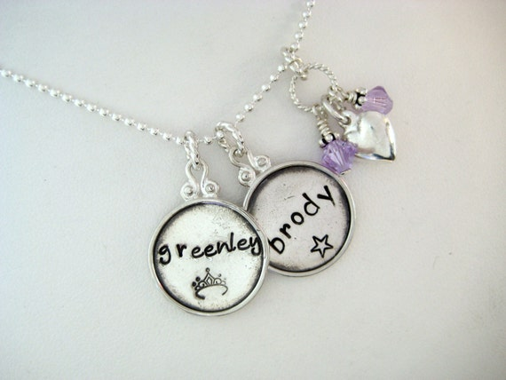 Personalized Sterling Silver Fancy Rim 2 Disc Necklace
