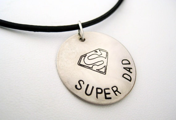 Hero - Hand Stamped Necklace - Dad - Super Dad - Personalized Sterling Silver and Leather Necklace