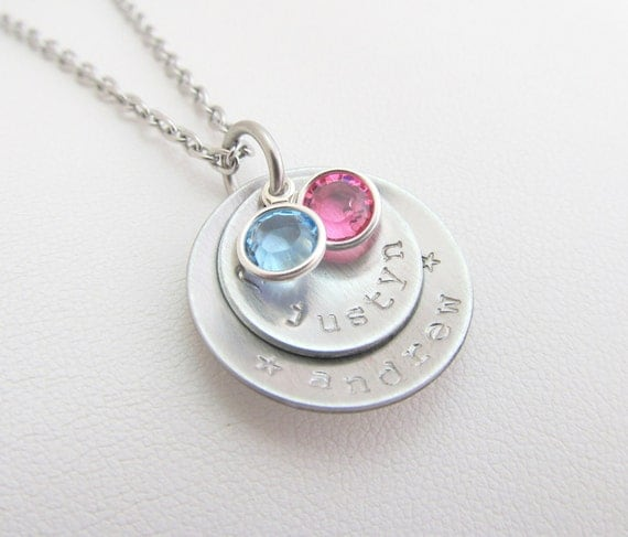 Personalized Hand Stamped Petite Silver 2 Tier Necklace