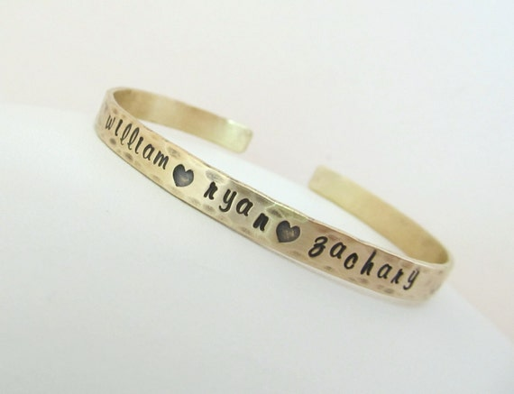 "Hand Stamped Jewelry - Personalized Bronze 1/4"" Cuff Bracelet"