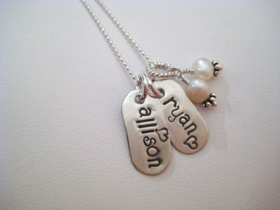 NEW FONT.....Sterling Silver Personalized Multi Tag Necklace
