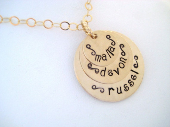 CUSTOM HAND STAMPED 3 TIER PERSONALIZED GOLD NECKLACE