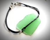 NEW - Sea Glass & Black Cotton bracelet