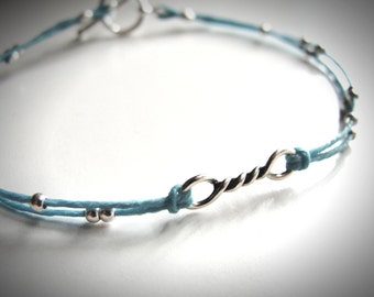 Twisted in Blue Sterling and Linen bracelet
