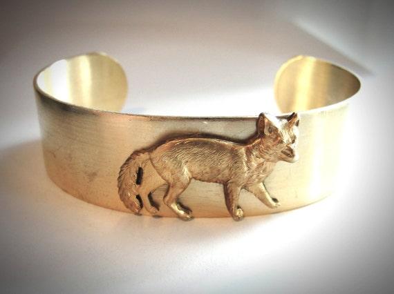 NEW - Wolf Canidae Brass Cuff bracelet