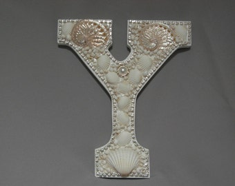 Beach Decor-Pink abalone Swarovski Crystal and  shell embellished letter Y