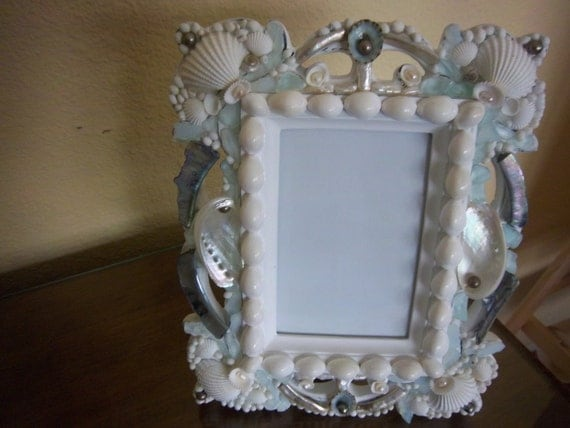 Beach Decor-Sea Shell Embellished Picture Frame