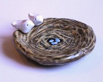 Birds nest ring dish ... Nest, eggs and bird....handmade keepsake clay art bowl....Great gift