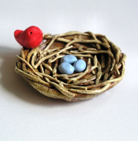 Art Clay Sculpted Bird Nest Ring: Nest Eggs And Bird....handmade Polymer Clay Sculpture