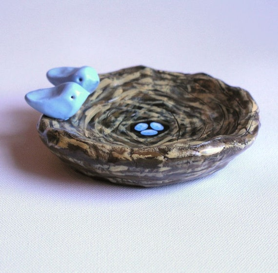 Art Clay Sculpted Bird Nest Ring: Bird Nest Bowl ... Ring Bowl .. Birds On A Nest With