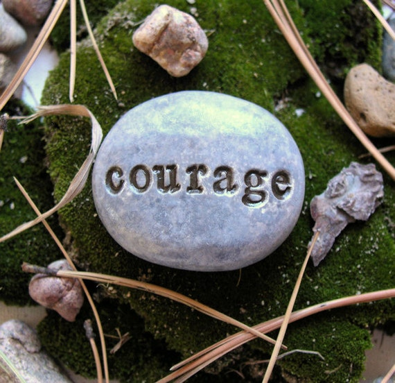Word Stone...Polymer clay stone with engraved words...Courage