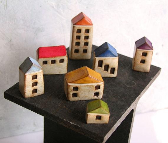 Fairy houses ... handmade clay houses, set of 7 ... instant little neighborhood...fairy gardens