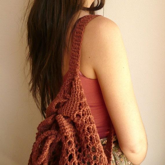 Handmade Crochet Hemp Bag Eco Friendly Rusty Brown