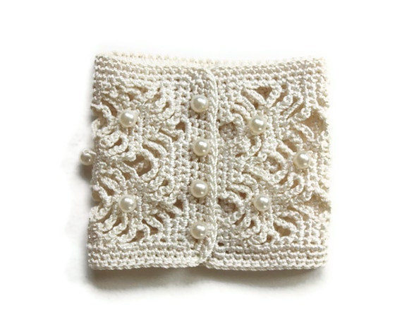 Crochet Cuff - Handmade with Faux Pearls - Perfect for Wedding Attire - Shabby Chic, vintage inspired