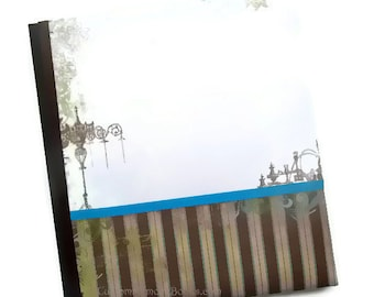 Chandelier Baby Book Green Brown Teal Blue White Stripes 8.5 x11
