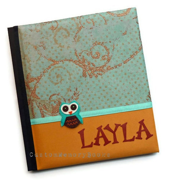 Reserved listing for b33m0nkey - Owl Orange Copper Aqua Baby Book