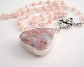 Pink Opal Rosary Necklace With Rhodonite Pendant - Sterling Silver - Soft Pink - Gray - Black
