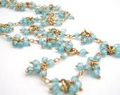 Aqua Cubic Zirconia Strand Necklace Set, Gold, Sky Blue, Elegant