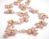 Reserved For Therese - Pink Cubic Zirconia Strand Necklace Set, Soft Pink, Gold, Wire Wrapped, Dangles, Elegant