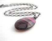 Magenta And Black Agate Pendant Necklace, Oval Pendant, Hot Pink, White, Black, Modern, Black Chain